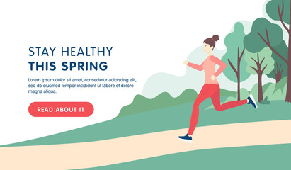 Young brunette woman running in the park in sport clothes. Flat cartoon vector illustration isolated on white background. Banner, site, landing design.