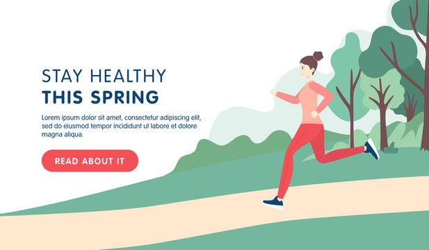 Spring sport landing page template. Young brunette woman running in the park in sport clothes. Vector flat cartoon illustration