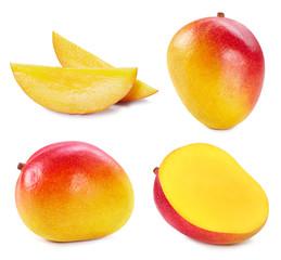 Collection mango isolated on white background. Mango fruit clipping path. Mango macro studio photo