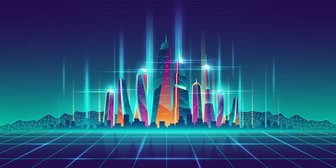 Future metropolis virtual model cartoon vector Wall mural