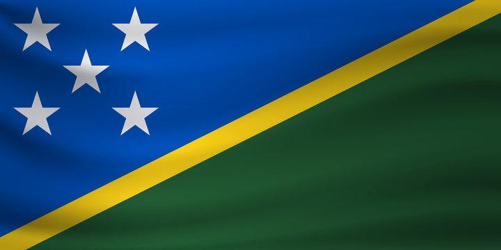 Waving flag of Solomon Islands. Vector illustration