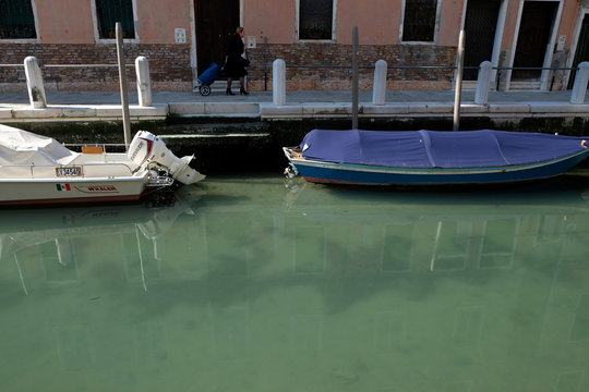 Clear water is seen in Venice's canals due to less tourists, motorboats and pollution, as the spread of the coronavirus disease (COVID-19) continues, in Venice