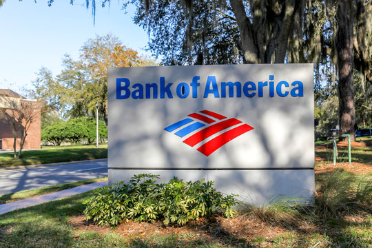 Orlando, Florida, USA - February 8, 2020: Bank of America sign in Orlando, Florida, USA. The Bank of America Corporation is an American investment bank and financial services company.