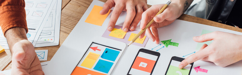 Cropped view of designers creative user experience design of mobile website with layouts on table, panoramic shot