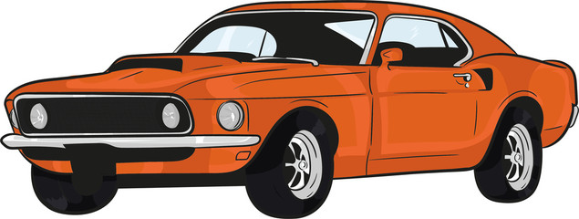 vartoon car,muscle car,fast, speed, classic car