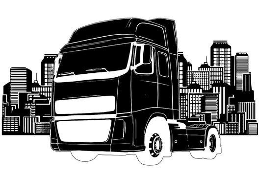 Truck trailer types vector illustration design art