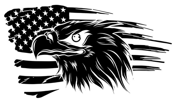 Eagle Head Vector - Side View Silhouette illustration