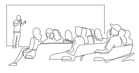 Fototapeta People sit cinema hall back rear view looking at screen continuous one line drawing. Hand drawn audience cinema, theater vector silhouette. Crowd of people in the auditorium  contour illustration. obraz