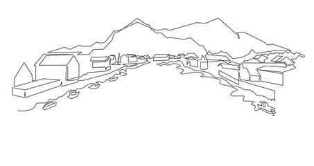 Norwegian Mountain landscape continuous one line vector drawing. Norway, a small town with houses near the shore of the water with fishing boats hand drawn silhouette. Nature, rock panoramic sketch.