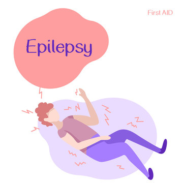 Man under epileptic seizure on white isolated backdrop. Epilepsy text for medical poster, social banner, info card or social network. Flyer or cloth print. Minimal style stock vector illustration
