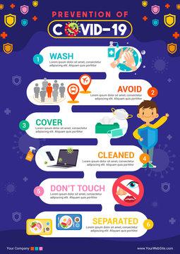 Prevention of COVID-19 infographic flyer vector illustration. Coronavirus protection poster design (epsCS6)