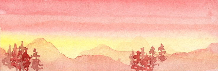 Foto auf Leinwand Rosa hell Watercolor red orange sunset illustration with mountains and forest, Christmas trees.