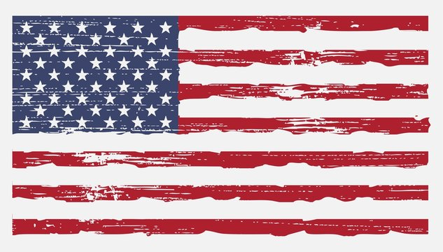 US American Flag Vector Background in Rustic Retro Vintage Grunge Style
