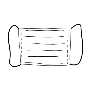 Medical disposable protective mask drawn in the style of Doodle.Prevention and prevention of diseases and viruses.Black and white image isolated on a white background.Outline image by hand.Vector