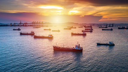 Aerial view tanker cargo vessel oil and gas petrochemical in oil terminal, Global business commercial trade freight fuel chemical and natural gas logistic industry refinery worldwide. Wall mural