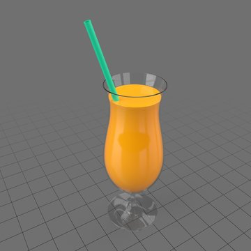 Tulip glass with orange juice