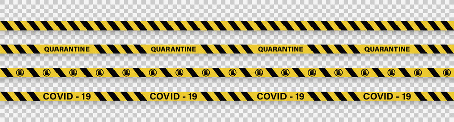 Strips of quarantine. Warning coronavirus quarantine yellow and black stripes. Isolated on transparent background. Vector