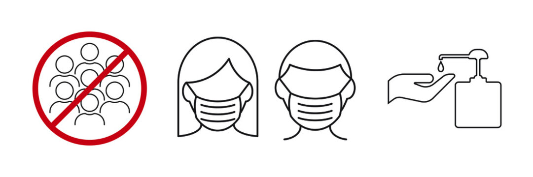 Icon images wearing a mask, washing your hands and avoiding assembly. Coronavirus or Covid 19 protection concept.