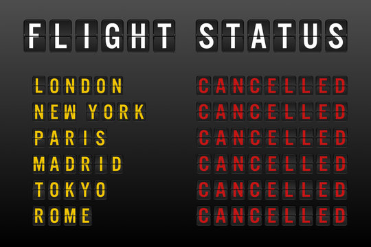 Flight status board with cancelled worldwide flights and passenger chaos due to global travel ban restrictions - Airline delays and cancellations on departure sign - Disruption and lockdown concept