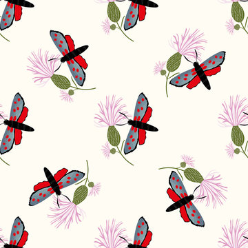 Six spot burnet butterfly seamless vector pattern background. Day flying moth on pink knapweed backdrop. Scottish coastal insect design. All over print for Scotland summer vacation,wildlife concept