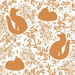 Seamless pattern with silhouette of sleep and dream fox, orange berries and leaves. Floral background with animals. Illustration for fabric, textile, packaging paper, wallpaper. Vector illustration.