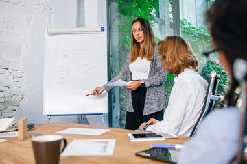 Meeting of members of a start-up in the meeting room - Young woman speaks in front of other people about investments - Millennial teaches her peers market strategies