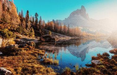 Fotomurales - Fantastic sunny landscape in mountains with autumn forest and lake. Wonderful summer scenery during sunset. Awesome alpine highlands during sunset. Dolomites alps. Federa lake. Italy. Creative image
