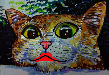 Canvas Prints Hand drawn Sketch of animals Art painting oil color A crazy cat with glasses from thailand