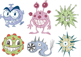 Creative set of funny toothy viruses in cartoon colorful style.