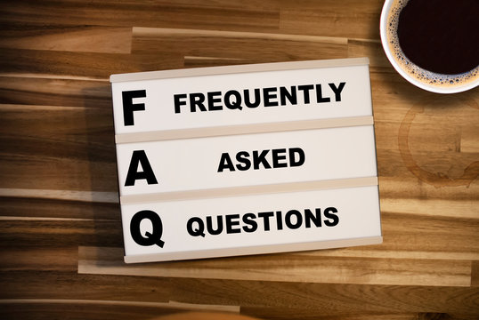Lightbox or light box with acronym faq frequently asked questions