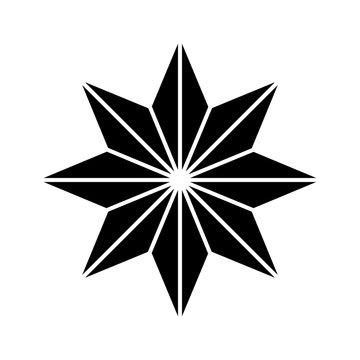 Eight pointed star simple thin line icon.