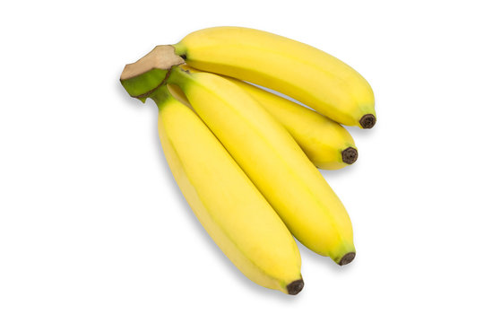 Bunch of ripe bananas on wihte isolated background