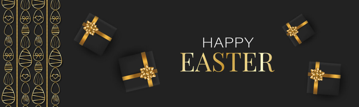 Happy Easter banner or header. Golden eggs garland decoration and gift boxes on black background for newsletter, advertisement, or party invitation. Vector illustration.