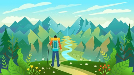 Poster Turquoise A backpacker standing on the top of a mountain enjoying river view. Vector illustration.