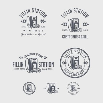 Vector logo of drinks and food bar using fuel fillers