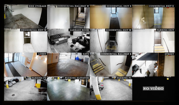Security camera monitoring screen. 16 camera slots. Small high end system of residential, commercial  or strata building. Parking, gate, garbage and recycling room, staircase and hallway.