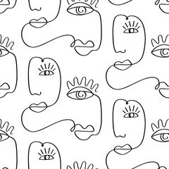 Glamour one line drawing women faces seamless pattern