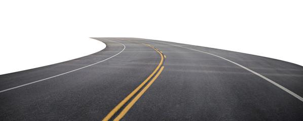 Winding asphalt road with yellow symbol