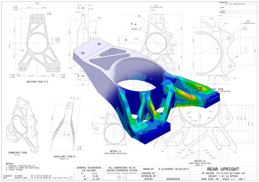 3D Illustration. Von Mises stress and CAD model blend isometric view of car suspension upright without scale on top of engineering technical drawing