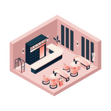 Isometric lobby, reception, lounge in pink pastel color with a hotel card or trolley, tables and chairs. Interior concept scene