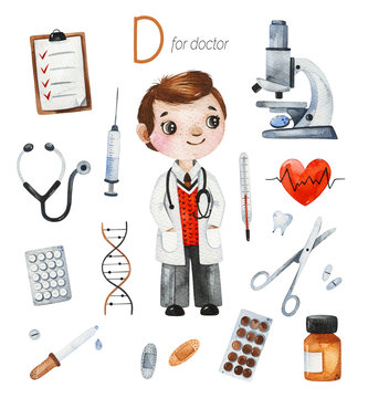 Watercolor Alphabet Profession set.Learn letters with funny professions.Doctor for D letter.Perfect for education,baby shower,children prints,hospitals,template card, books, and much more