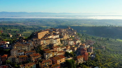 Aerial view of a magnificent landscape of the Italian village Chianciano, authentic village of Terme, Tuscany Italy