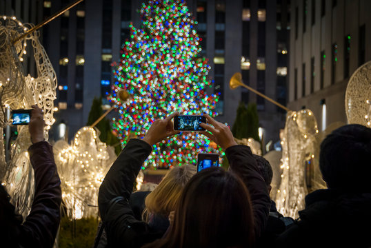 Christmas tourists in New York