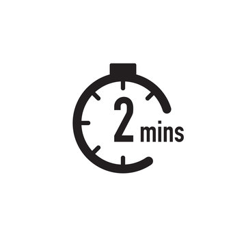 2 minutes timer, stopwatch or countdown icon. Time measure. Chronometr icon. Stock Vector illustration isolated on white background.