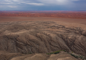 Poster Cappuccino Aerial picture of the landscape of the Namib Desert in western Namibia