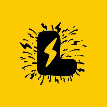 L letter logo with lightning negative space.