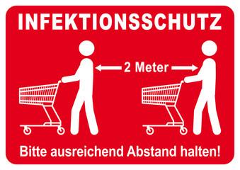 ds42 DiskretionSchild - german text: Infektionsschutz / Hygienemassnahme - Bitte ausreichend Abstand halten. - Einkaufen im Supermarkt. weiss / rot - Druckvorlage DIN A1 A2 A3 A4 - xxl g9298 Wall mural