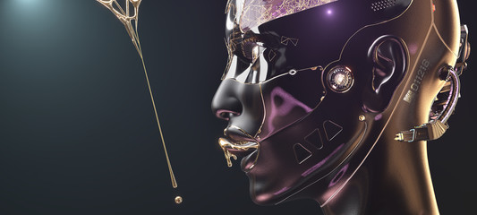 Futuristic cyborg fembot closeup face with golden liquid metal side view on foggy background with copyspace, 3d render