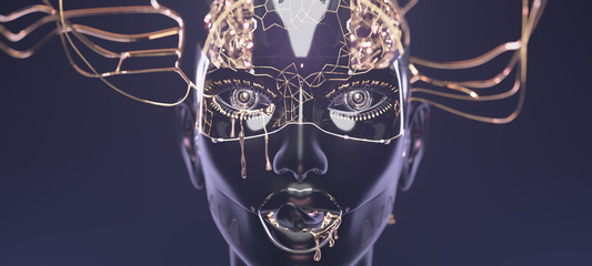 Cybernetic brain in cyborg face with golden paint on it, futuristic robotic head concept art of artificial intelligence network, 3d render