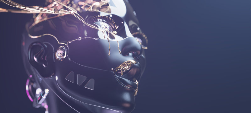 Cybernetic brain in cyborg face with golden paint on it, futuristic robotic head concept art of artificial intelligence network with copyspace, 3d render